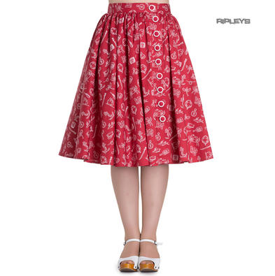 Hell Bunny 50s Skirt Vintage Pin Up Rockabilly MARIN Nautical Red All Sizes
