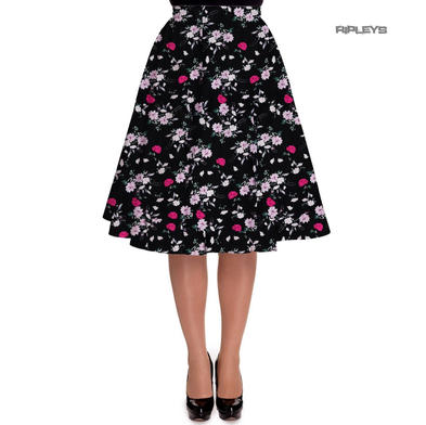 Hell Bunny 50 Skirt Vintage Pin Up BELINDA Flowers Floral Black All Sizes