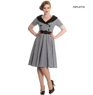 Hell Bunny 40s 50s Pin Up Swing Dress Black White BRIDGET Gingham All Sizes