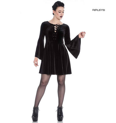 Hell Bunny Gothic Witchy Mini Skater Dress WILLOW Black Velvet All Sizes