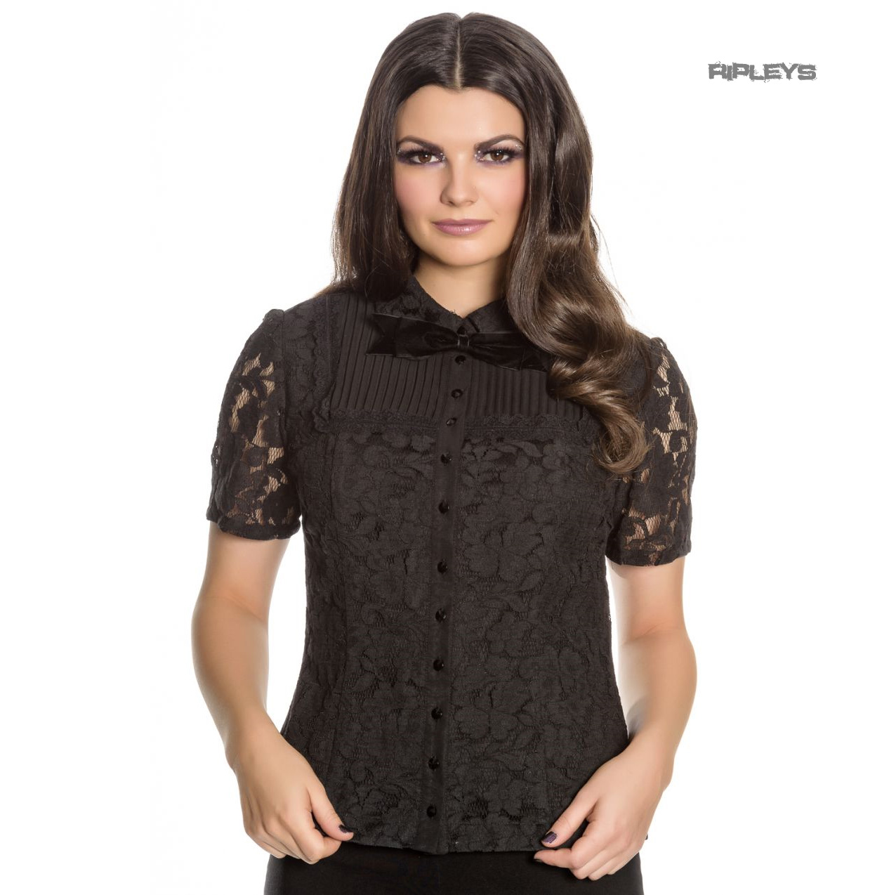 Hell-Bunny-Spin-Doctor-Vampire-Gothic-Shirt-Top-ROWENA-Lace-Blouse-All-Sizes Indexbild 2
