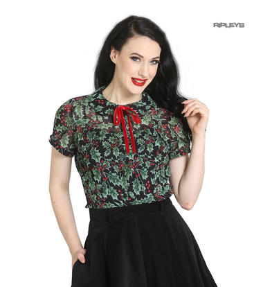 Hell Bunny 50s Shirt Top Christmas Festive HOLLY Berry Blouse Black All Sizes