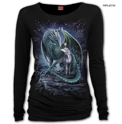 Spiral Ladies Gothic Unicorn Dragon PROTECTOR OF MAGIC L/Sleeve Top All Sizes