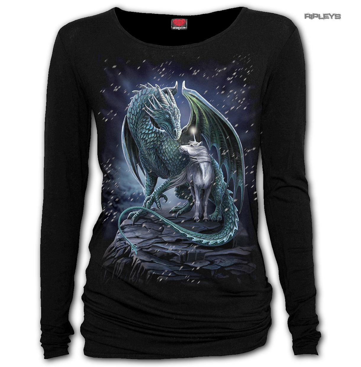 Spiral-Ladies-Gothic-Unicorn-Dragon-PROTECTOR-OF-MAGIC-L-Sleeve-Top-All-Sizes thumbnail 2