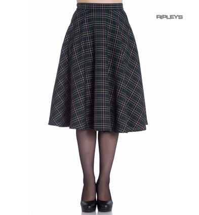 Hell Bunny 50s Skirt Vintage Pin Up Rockabilly PEEBLES Green Tartan All Sizes