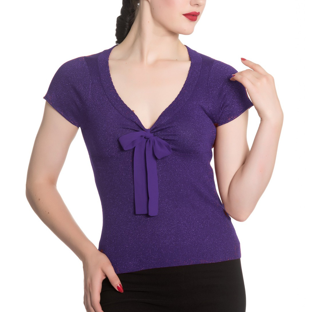 Hell-Bunny-Shirt-Rockabilly-Top-ANGETTE-Shiny-Twinkle-Purple-All-Sizes thumbnail 3