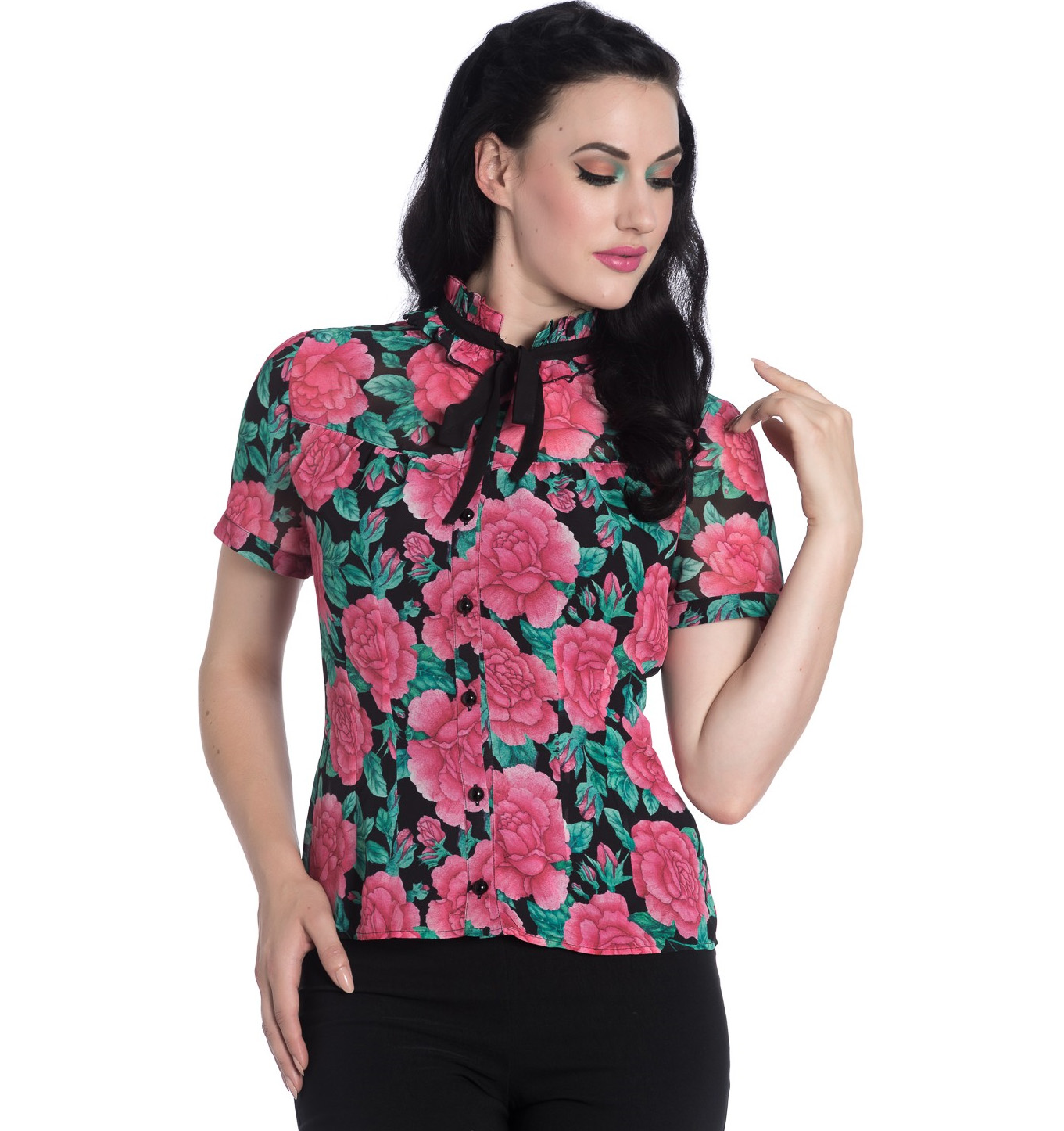 Hell-Bunny-Shirt-Top-Flowers-Roses-EDEN-ROSE-Black-Pink-Blouse-All-Sizes thumbnail 11