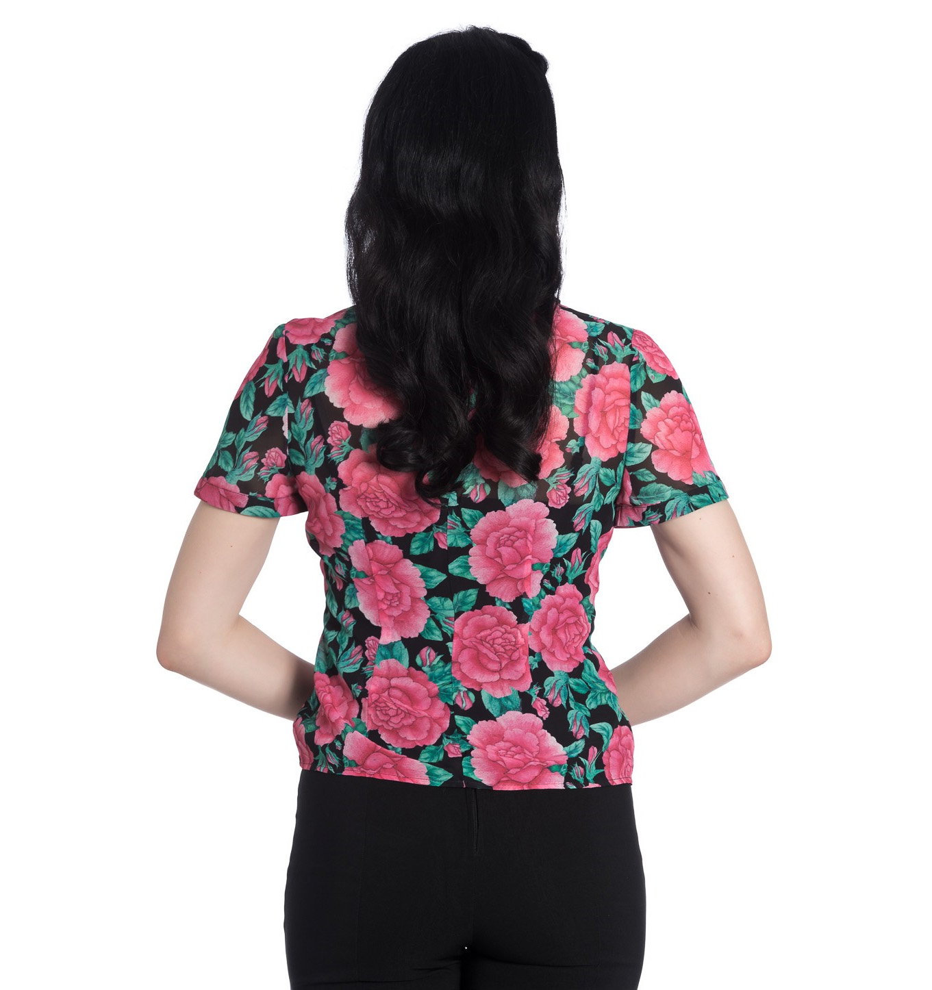 Hell-Bunny-Shirt-Top-Flowers-Roses-EDEN-ROSE-Black-Pink-Blouse-All-Sizes thumbnail 5