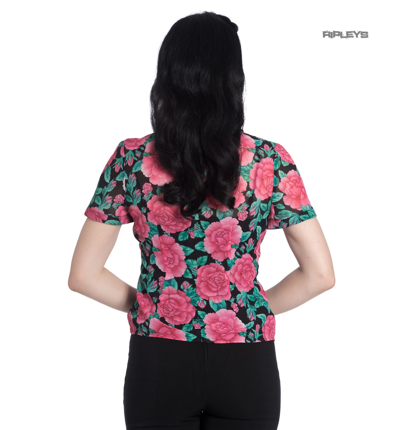 Hell-Bunny-Shirt-Top-Flowers-Roses-EDEN-ROSE-Black-Pink-Blouse-All-Sizes thumbnail 4