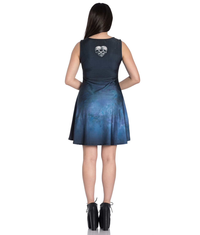 Hell-Bunny-Alchemy-Gothic-Blue-Mini-Skater-Dress-SEDNA-Mermaid-Siren-All-Sizes thumbnail 5