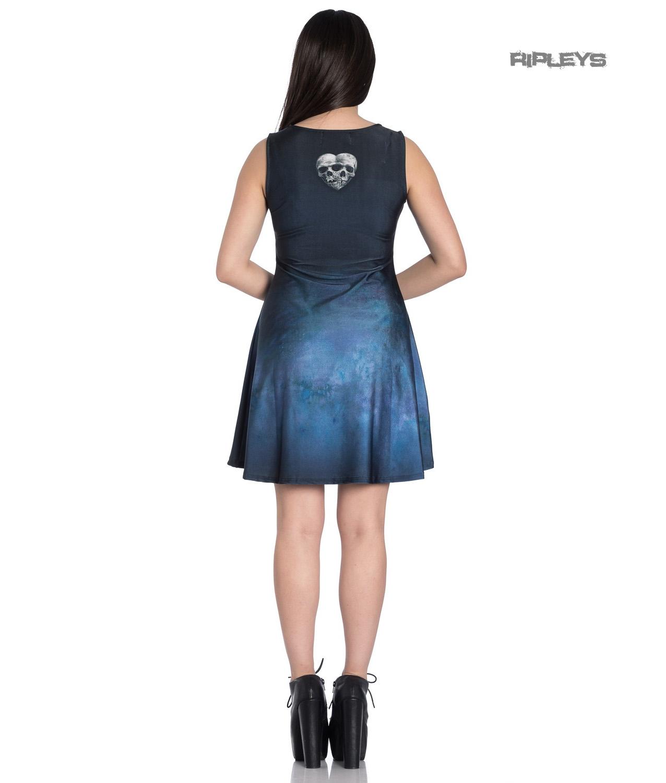Hell-Bunny-Alchemy-Gothic-Blue-Mini-Skater-Dress-SEDNA-Mermaid-Siren-All-Sizes thumbnail 4