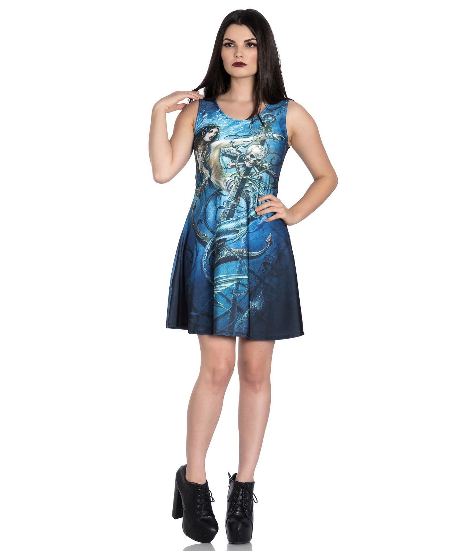 Hell-Bunny-Alchemy-Gothic-Blue-Mini-Skater-Dress-SEDNA-Mermaid-Siren-All-Sizes thumbnail 3
