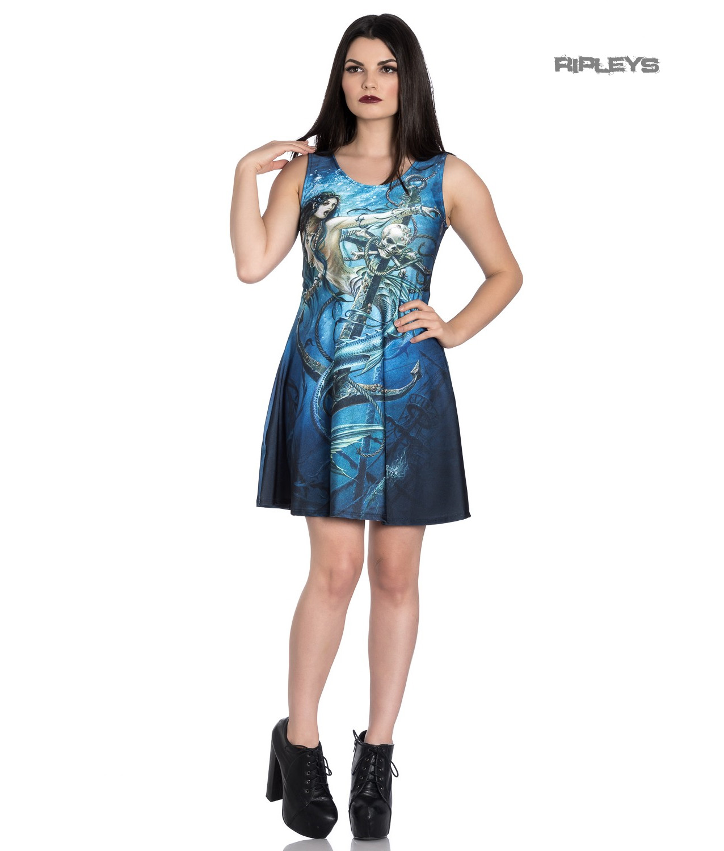 Hell-Bunny-Alchemy-Gothic-Blue-Mini-Skater-Dress-SEDNA-Mermaid-Siren-All-Sizes thumbnail 2