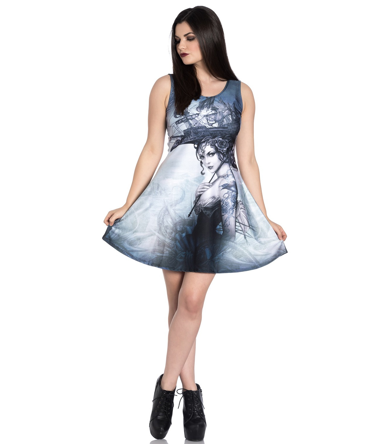 Hell-Bunny-Alchemy-Gothic-Grey-Mini-Skater-Dress-RAVENTIDE-Ship-All-Sizes thumbnail 3