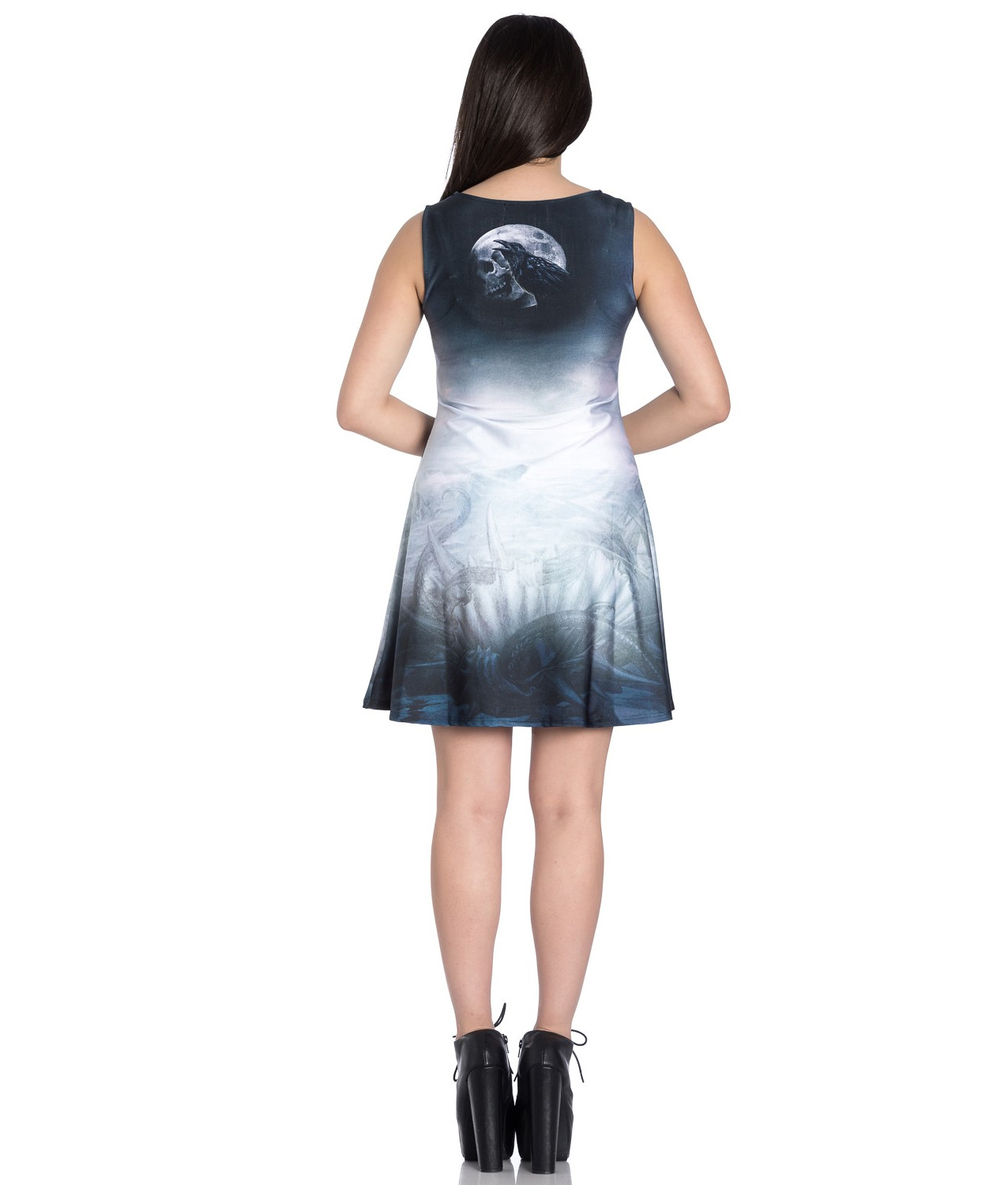 Hell-Bunny-Alchemy-Gothic-Grey-Mini-Skater-Dress-RAVENTIDE-Ship-All-Sizes thumbnail 5