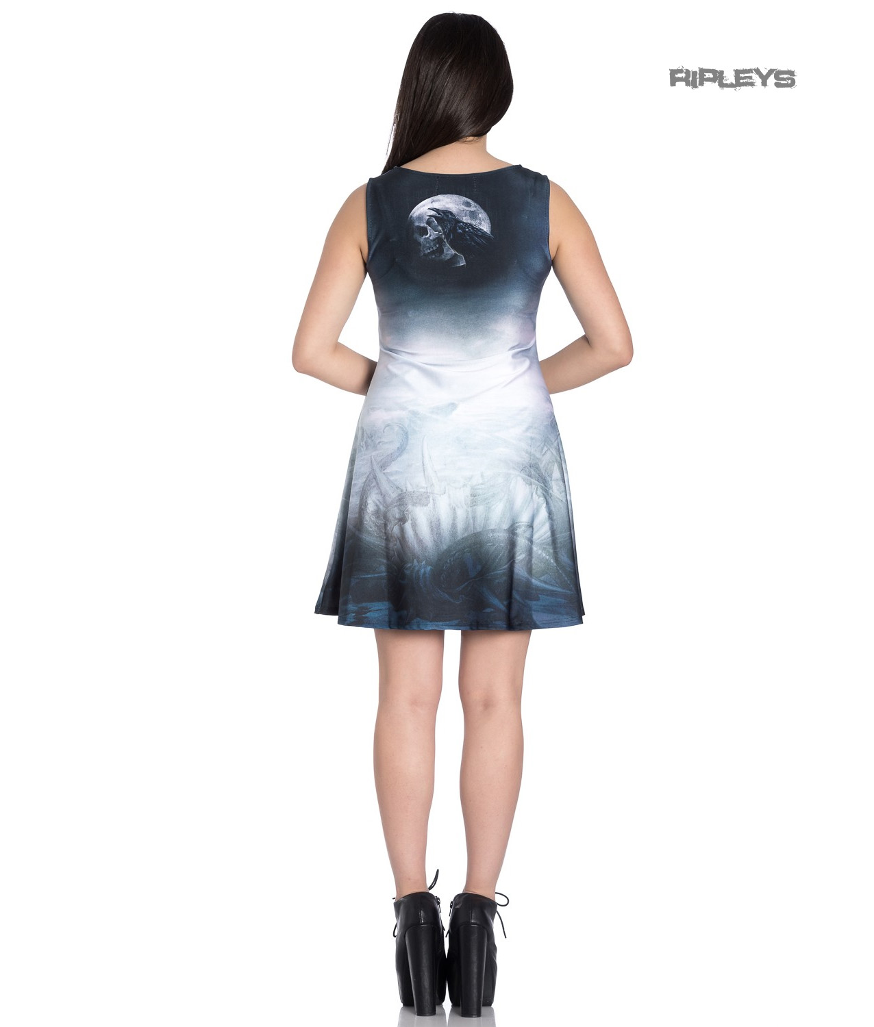 Hell-Bunny-Alchemy-Gothic-Grey-Mini-Skater-Dress-RAVENTIDE-Ship-All-Sizes thumbnail 4