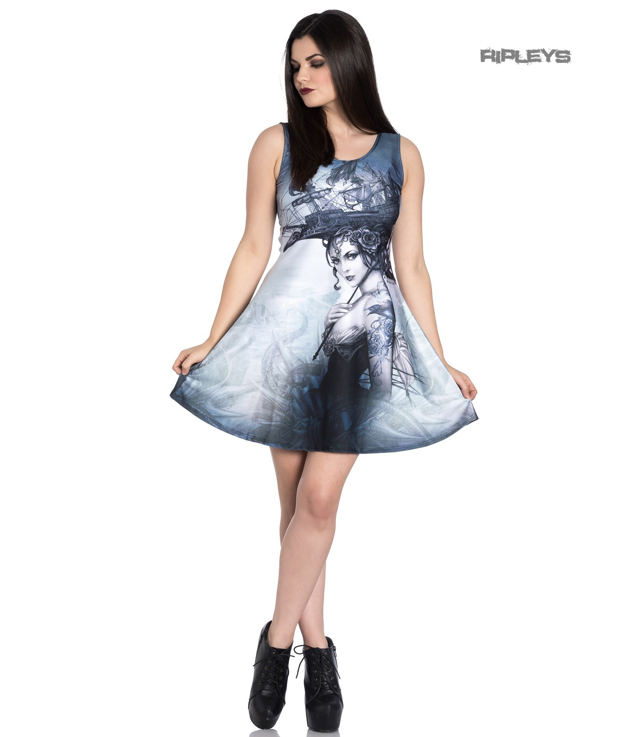 Hell-Bunny-Alchemy-Gothic-Grey-Mini-Skater-Dress-RAVENTIDE-Ship-All-Sizes thumbnail 14