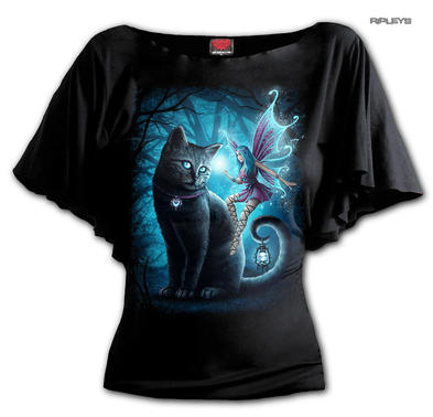 Spiral Ladies Gothic Ladies Bat Wing Top Black CAT & FAIRY Magic Blue All Sizes