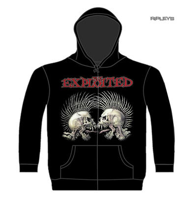 Official THE EXPLOITED Zip Hoody Hoodie F*CK THE SYSTEM Skulls Punk All Sizes