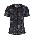 Hell Bunny 50s Shirt Top Black Ocean Octopus Roses POSEIDON Blouse All Sizes Thumbnail 4