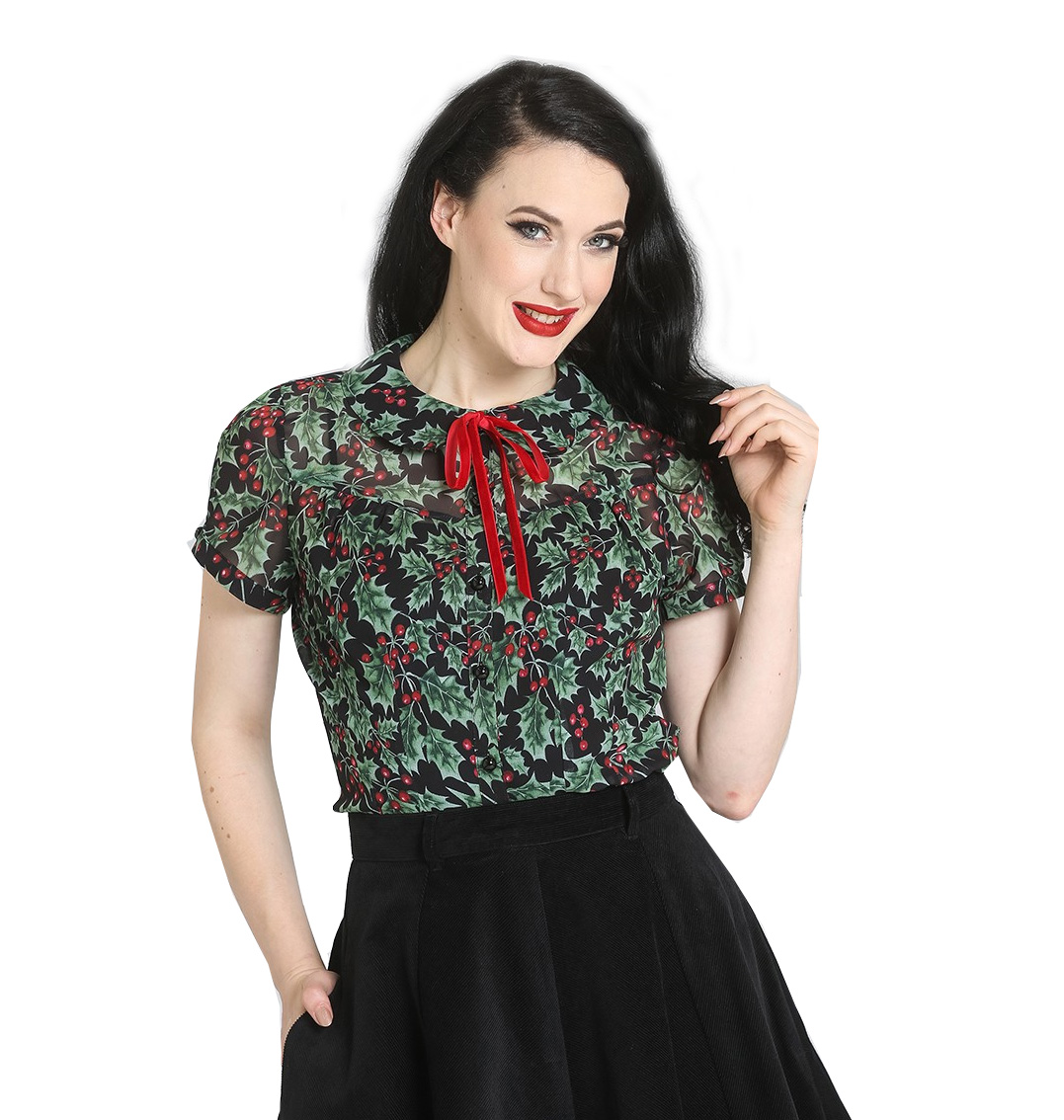Hell-Bunny-50s-Shirt-Top-Christmas-Festive-HOLLY-Berry-Blouse-Black-All-Sizes thumbnail 7