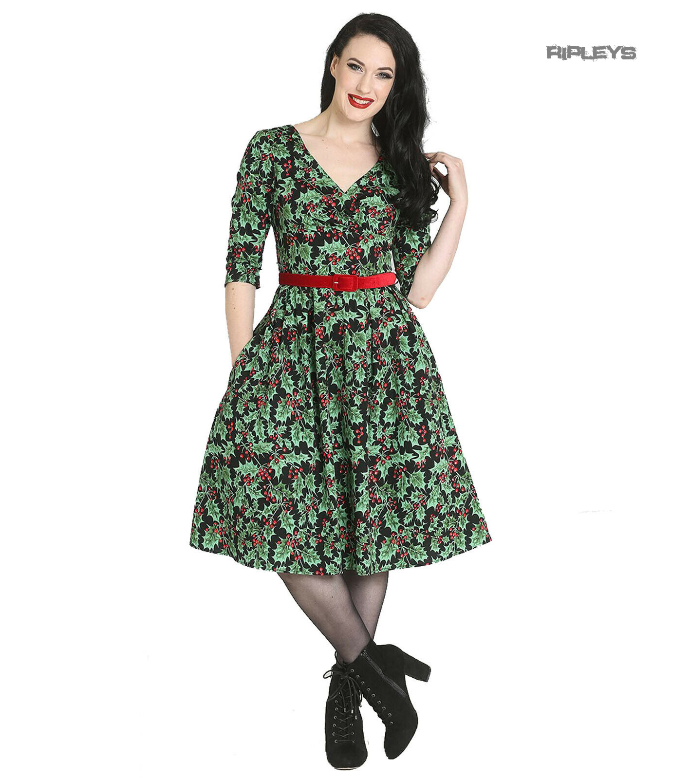 Hell-Bunny-50s-Pin-Up-Navidad-Vestido-Festivo-Rojo-Holly-Berry-Negro-Todos-los-Tamanos miniatura 18