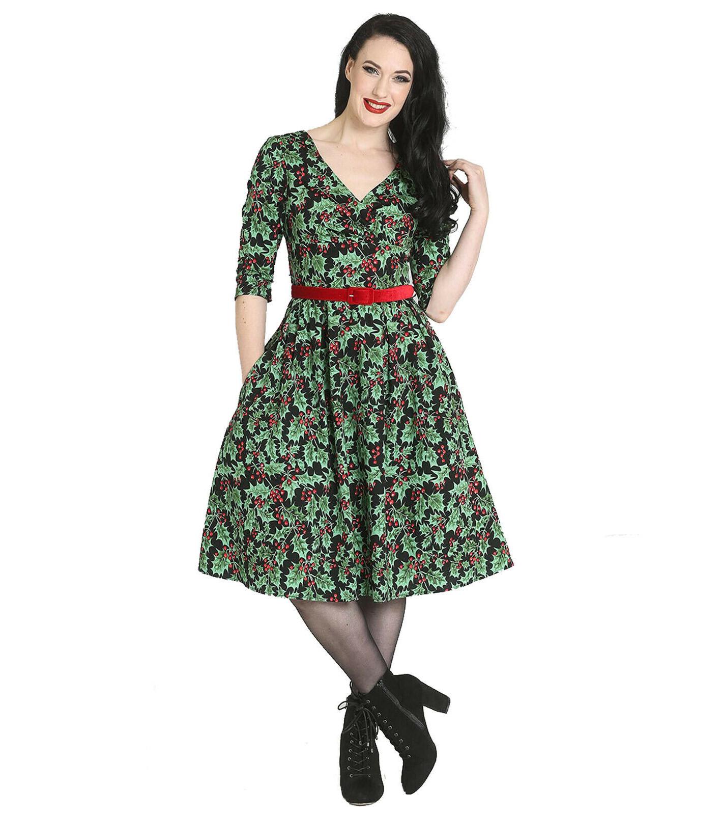 Hell-Bunny-50s-Pin-Up-Navidad-Vestido-Festivo-Rojo-Holly-Berry-Negro-Todos-los-Tamanos miniatura 3