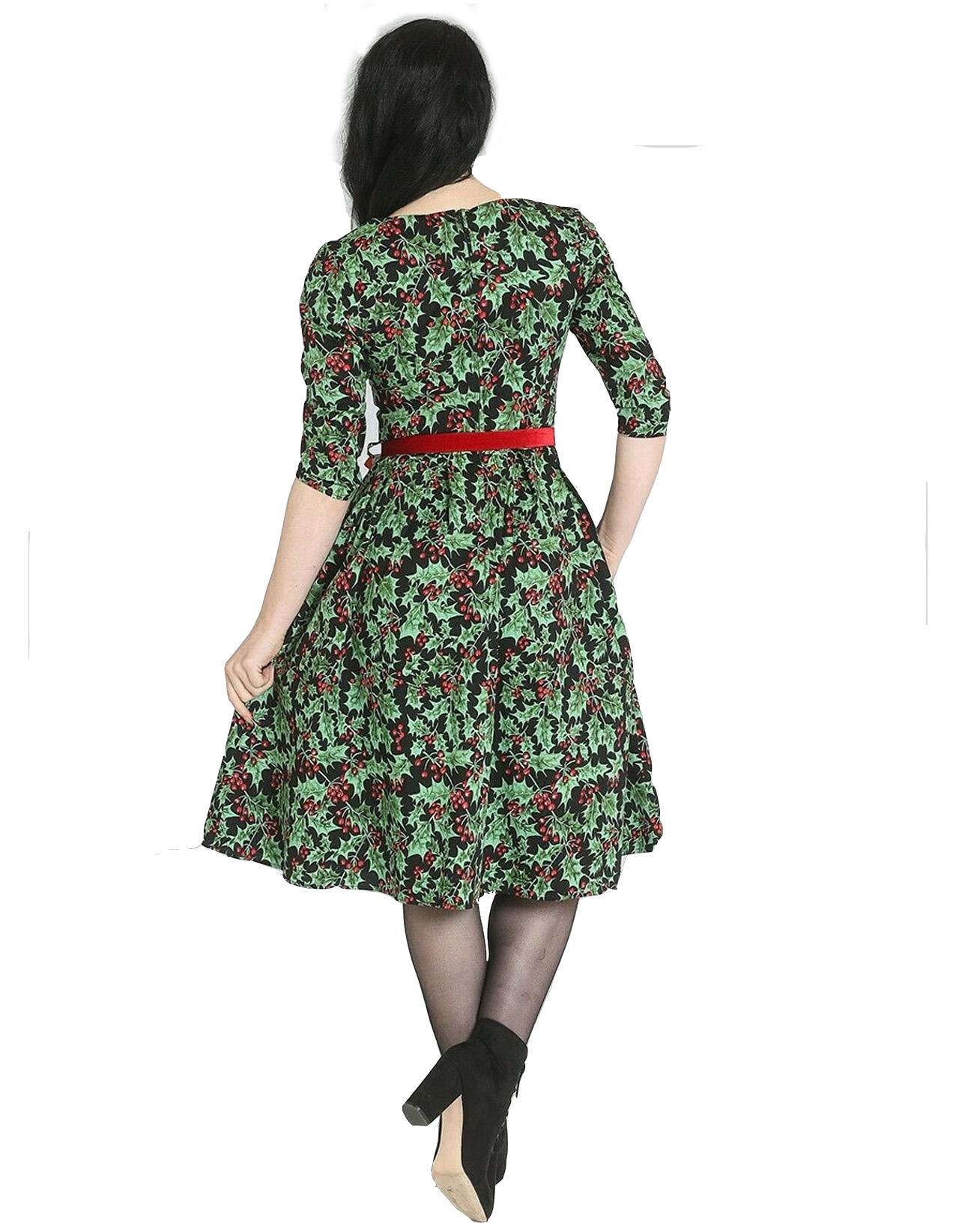 Hell-Bunny-50s-Pin-Up-Navidad-Vestido-Festivo-Rojo-Holly-Berry-Negro-Todos-los-Tamanos miniatura 13