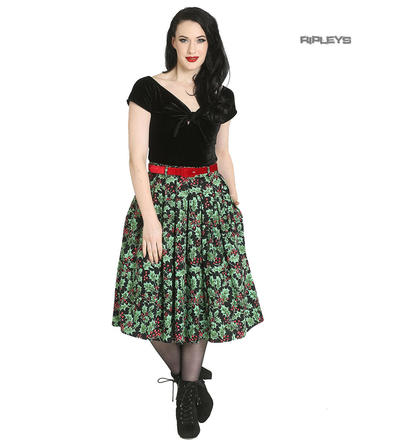 Hell Bunny 50s Pin Up Festive Christmas Skirt Belt HOLLY Berry Black All Sizes