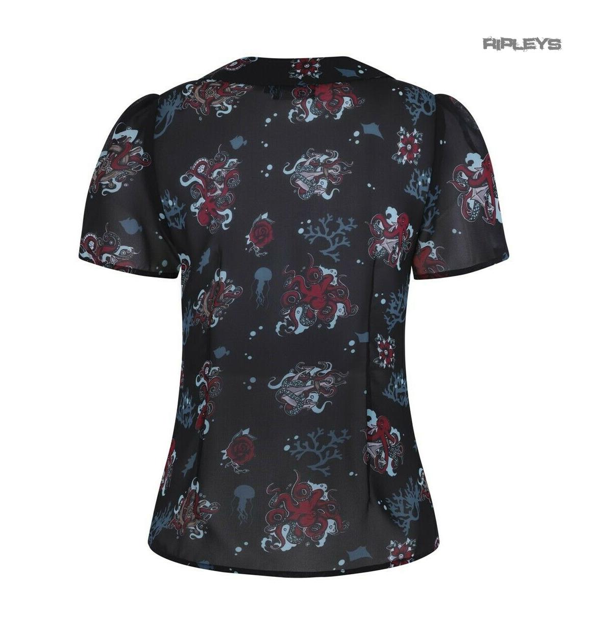 Hell-Bunny-50s-Shirt-Top-Black-Ocean-Octopus-Roses-POSEIDON-Blouse-All-Sizes thumbnail 18