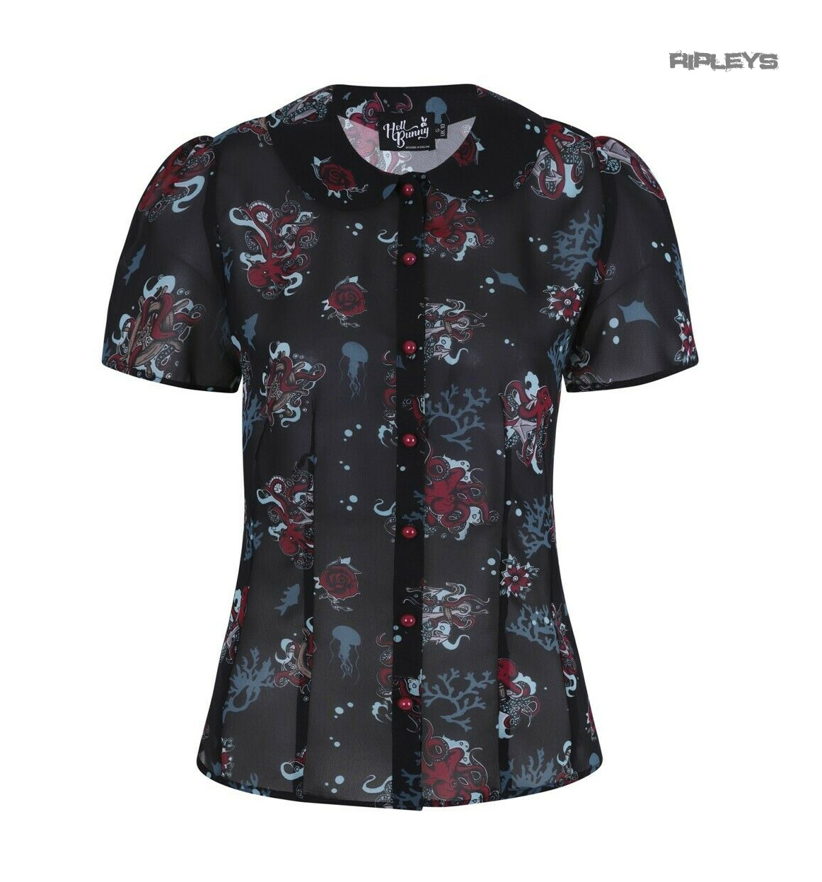 Hell-Bunny-50s-Shirt-Top-Black-Ocean-Octopus-Roses-POSEIDON-Blouse-All-Sizes thumbnail 10