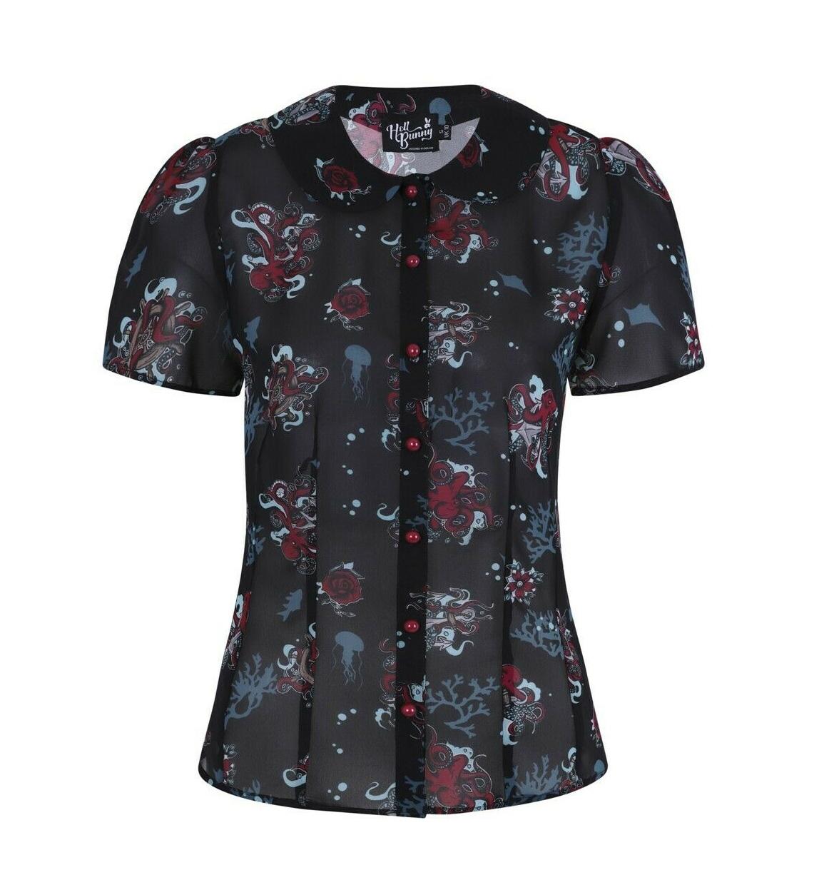 Hell-Bunny-50s-Shirt-Top-Black-Ocean-Octopus-Roses-POSEIDON-Blouse-All-Sizes thumbnail 5