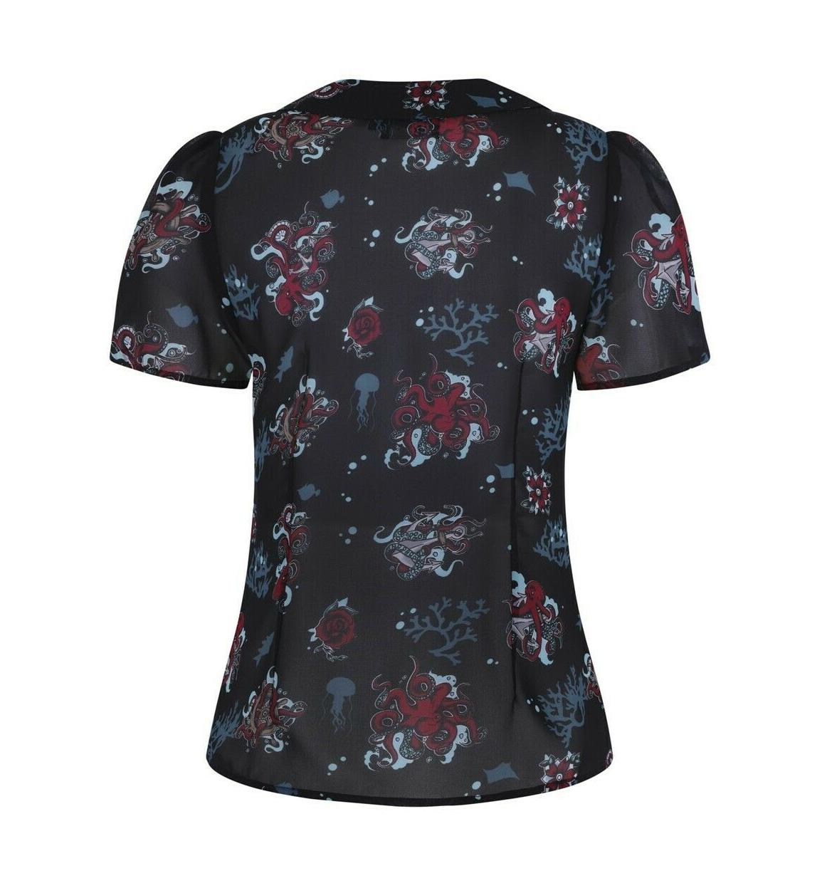 Hell-Bunny-50s-Shirt-Top-Black-Ocean-Octopus-Roses-POSEIDON-Blouse-All-Sizes thumbnail 7