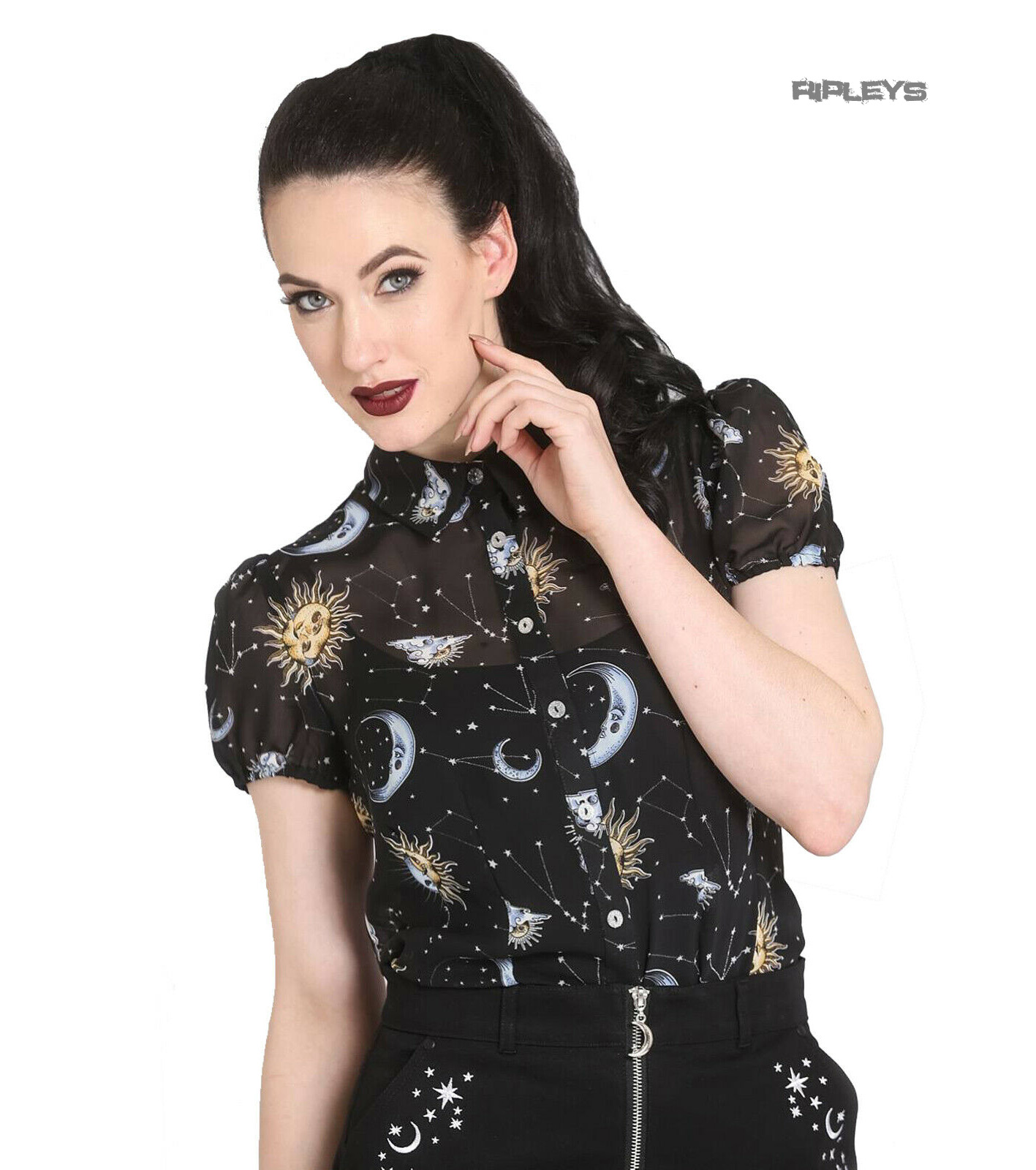 Hell-Bunny-50s-Shirt-Top-Gothic-Black-Sun-Moon-Stars-SOLARIS-Blouse-All-Sizes thumbnail 14