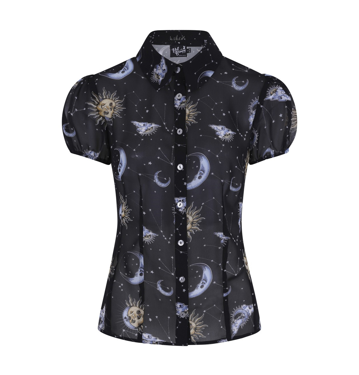 Hell-Bunny-50s-Shirt-Top-Gothic-Black-Sun-Moon-Stars-SOLARIS-Blouse-All-Sizes thumbnail 5