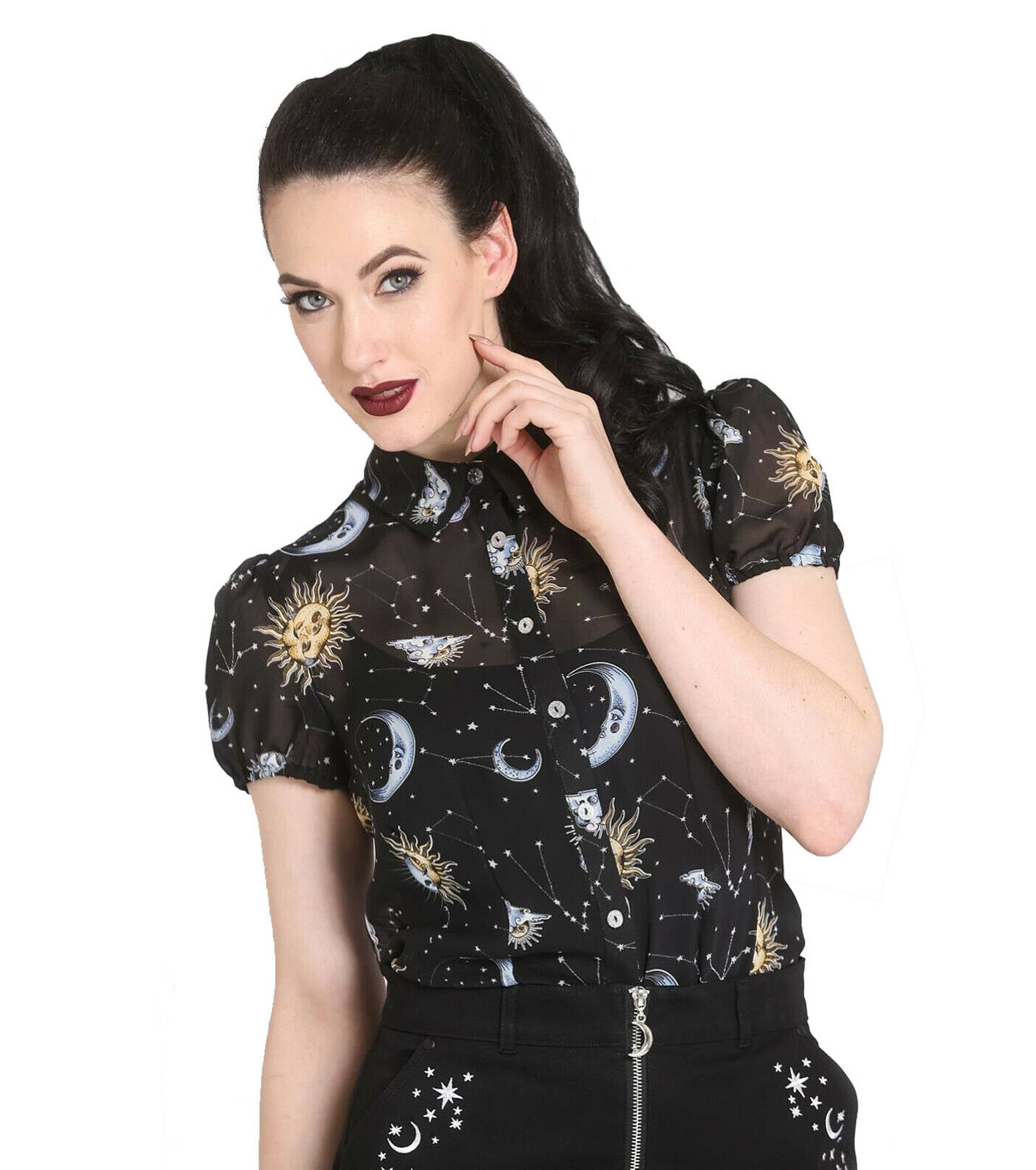 Hell-Bunny-50s-Shirt-Top-Gothic-Black-Sun-Moon-Stars-SOLARIS-Blouse-All-Sizes thumbnail 3