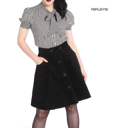 Hell Bunny 50s Rockabilly Corduroy WONDER YEARS Mini Skater Skirt Black All Size