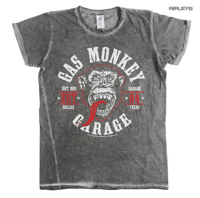 Official T Shirt Gas Monkey Garage 04 Vintage 'Round Seal' Urban Grey  All Sizes