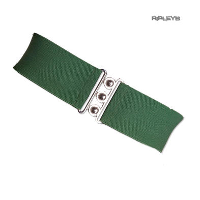 HELL BUNNY Retro 50s Waist BELT Rockabilly Elasticated Dark Green All Sizes