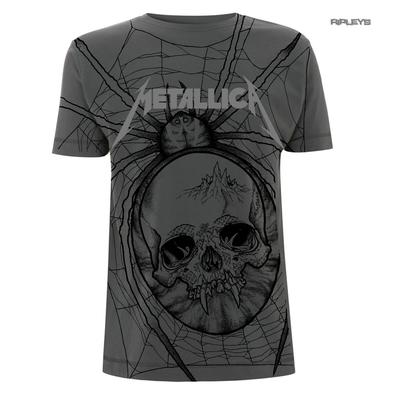Official Grey T Shirt Metal Metallica All Over Logo SPIDER Skull AO All Sizes