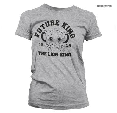 Official Disney Ladies Grey T Shirt THE LION KING Simba 'Future King' All Sizes
