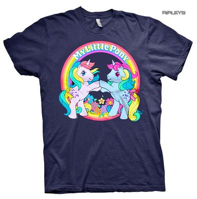 Official Unisex T Shirt MY LITTLE PONY Rainbow 'Best Friends' Navy Blue