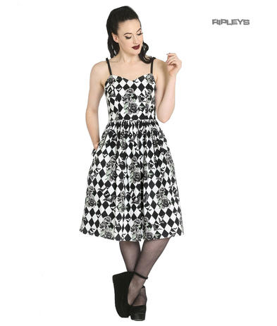 Hell Bunny Black Harlequin Pinup 50s Gothic Dress HAUNTLEY Bats Roses All Sizes
