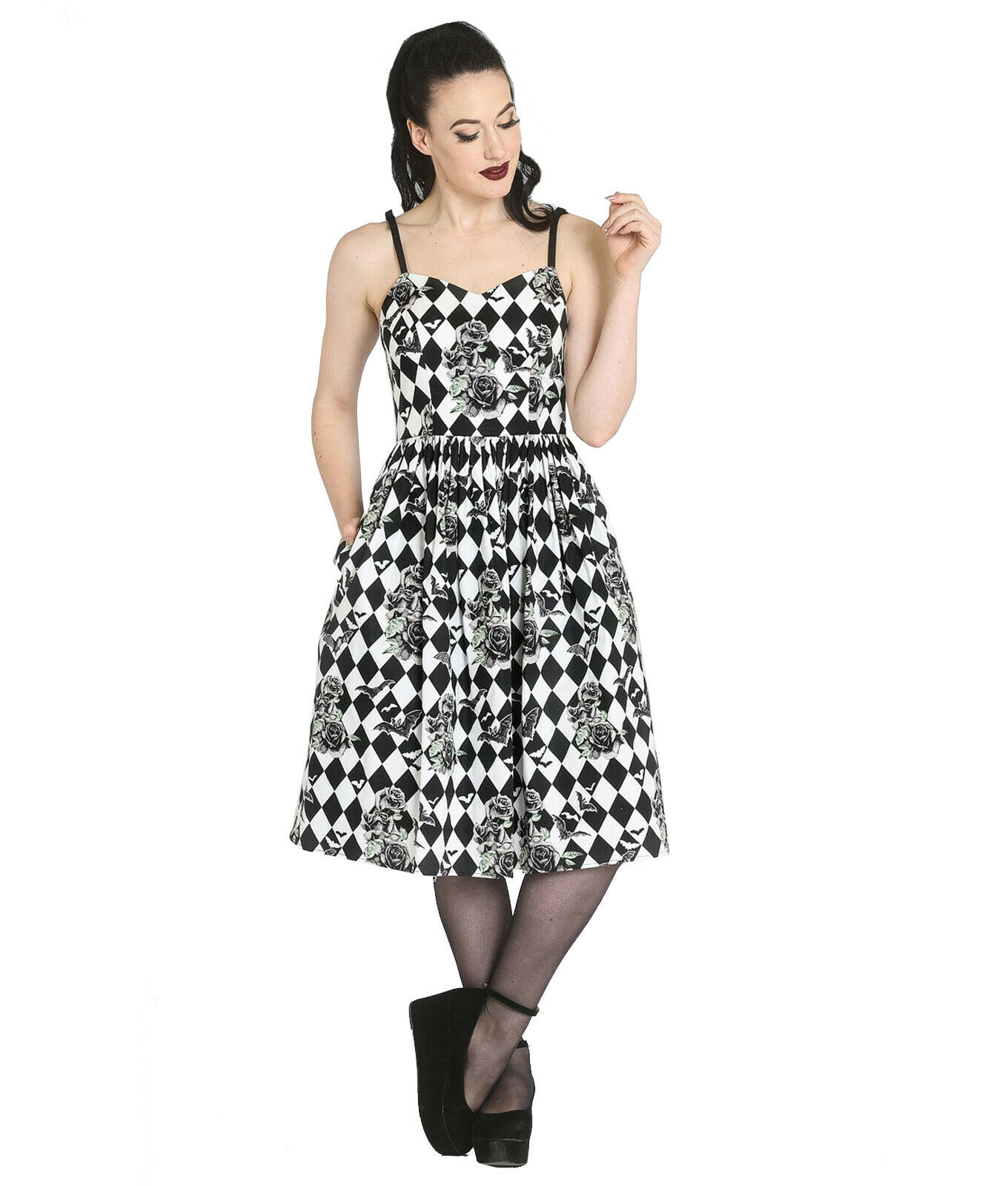 Hell-Bunny-Black-Harlequin-Pinup-50s-Gothic-Dress-HAUNTLEY-Bats-Roses-All-Sizes thumbnail 3
