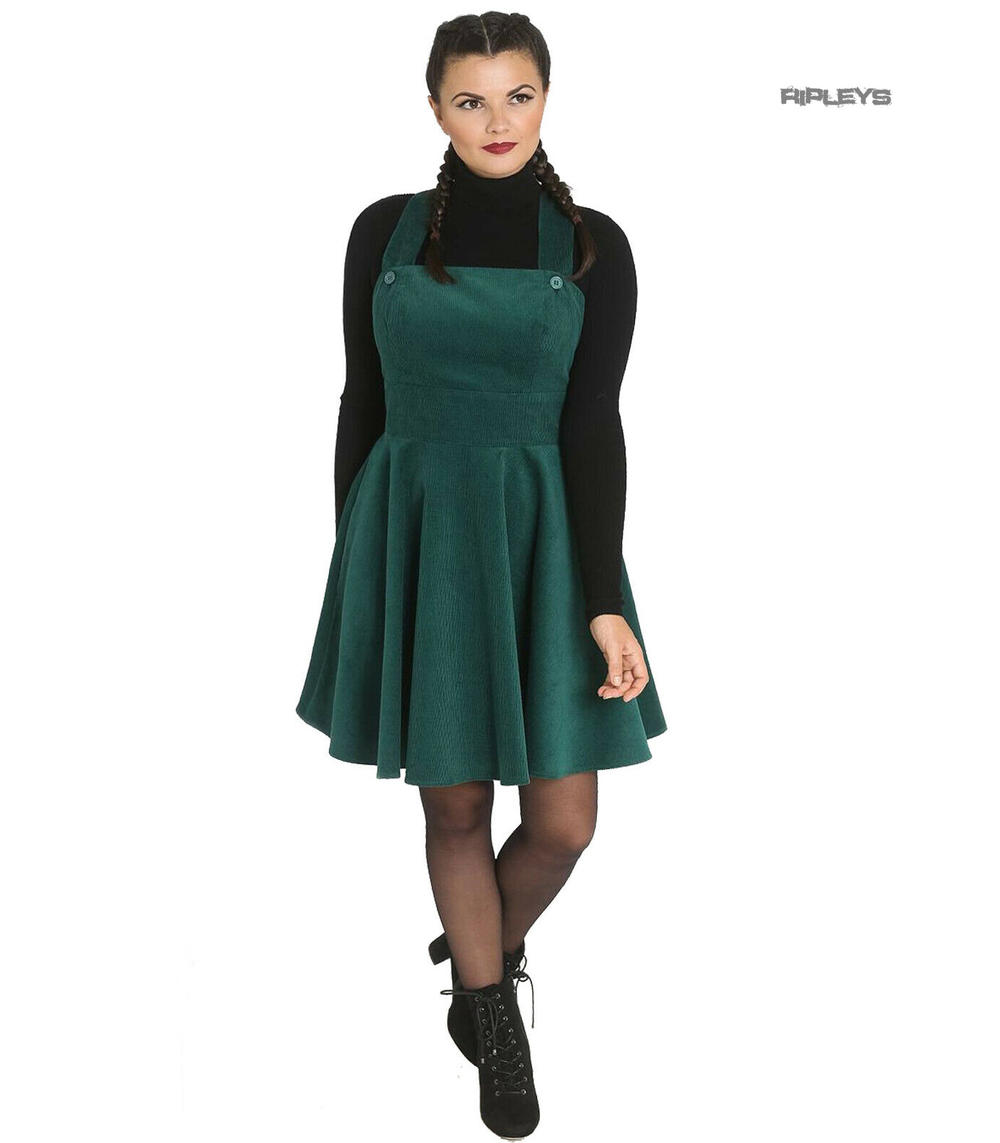 b56de7cb72ac Hell Bunny Rockabilly Corduroy Mini Dress WONDER YEARS Pinafore Green All  Sizes