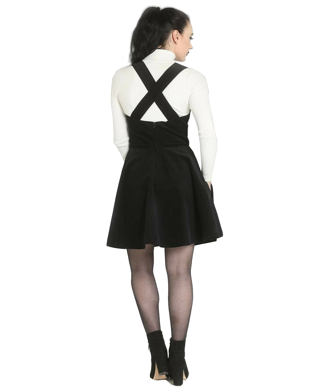 Hell-Bunny-Rockabilly-Corduroy-Mini-Dress-WONDER-YEARS-Pinafore-Black-All-Sizes thumbnail 5
