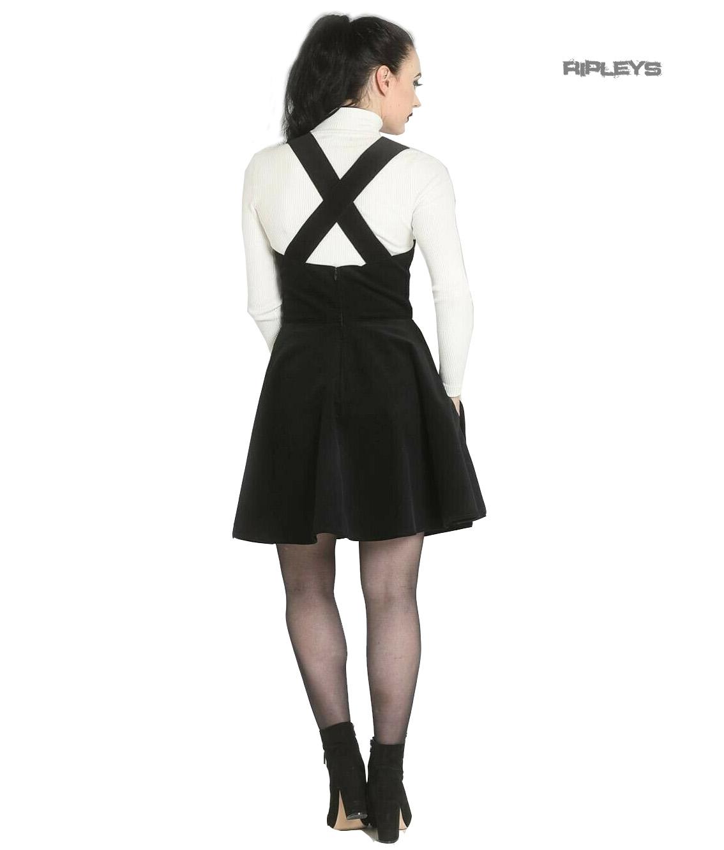 Hell-Bunny-Rockabilly-Corduroy-Mini-Dress-WONDER-YEARS-Pinafore-Black-All-Sizes thumbnail 4