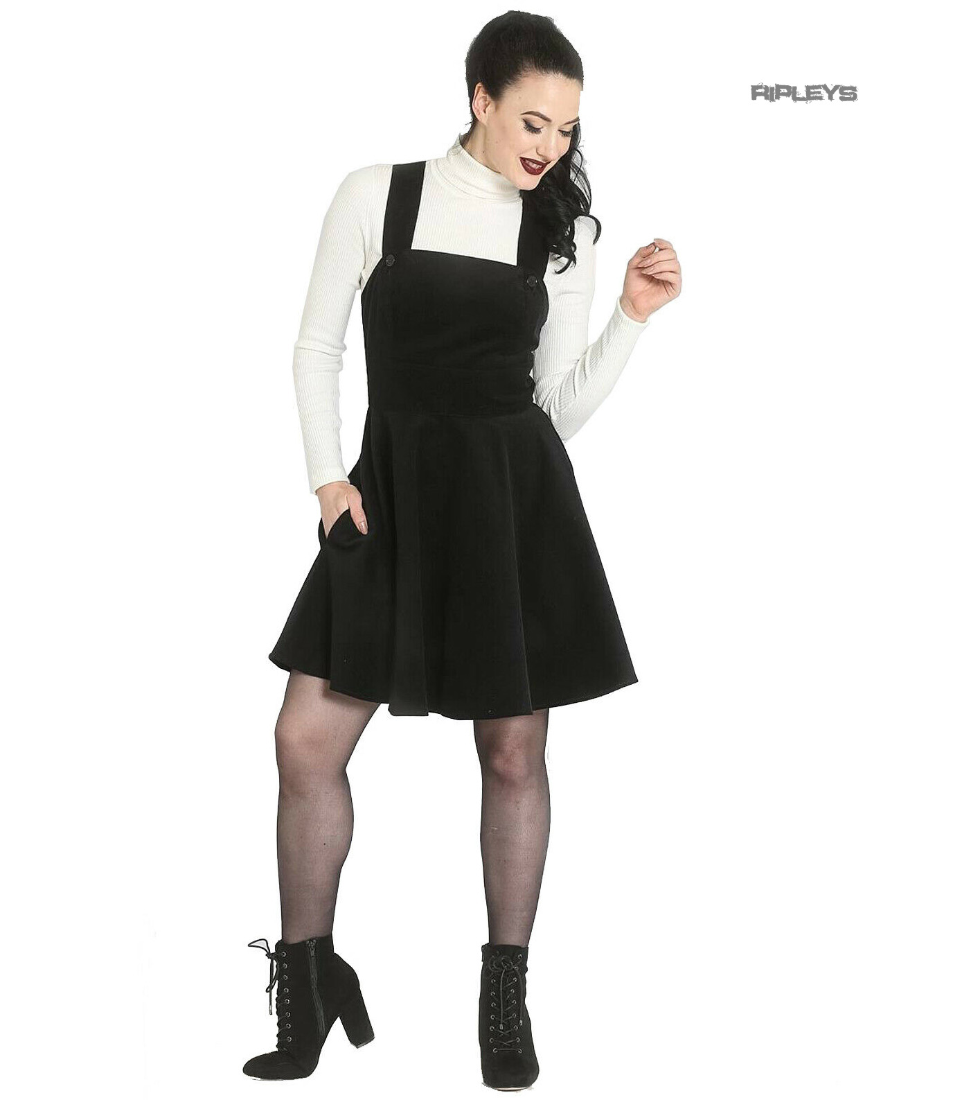 Hell-Bunny-Rockabilly-Corduroy-Mini-Dress-WONDER-YEARS-Pinafore-Black-All-Sizes thumbnail 14