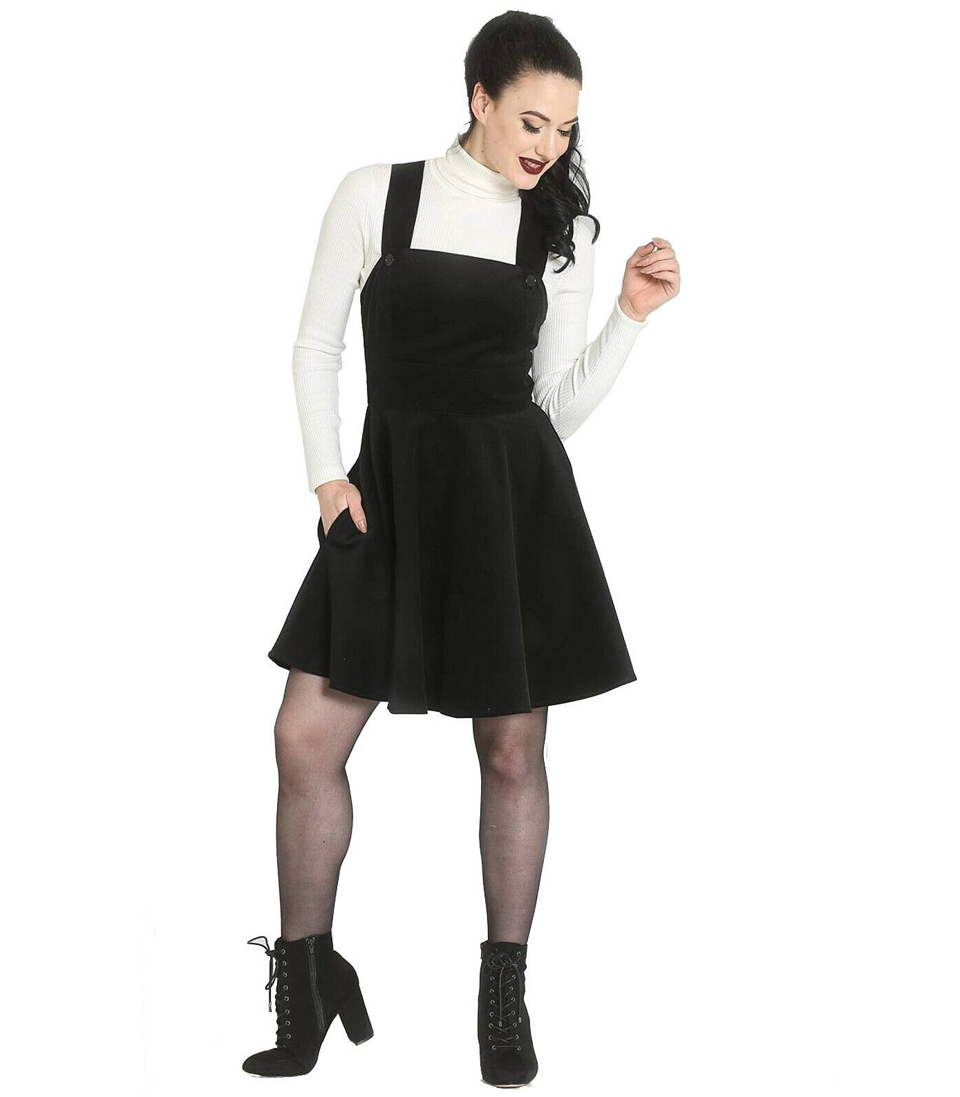 Hell-Bunny-Rockabilly-Corduroy-Mini-Dress-WONDER-YEARS-Pinafore-Black-All-Sizes thumbnail 27