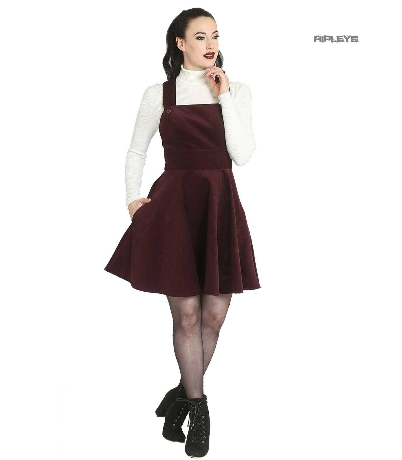 Hell-Bunny-Rockabilly-Corduroy-Mini-Dress-WONDER-YEARS-Pinafore-Wine-All-Sizes thumbnail 6